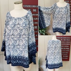 ND New Directions | L fan sleeve tunic top Navy